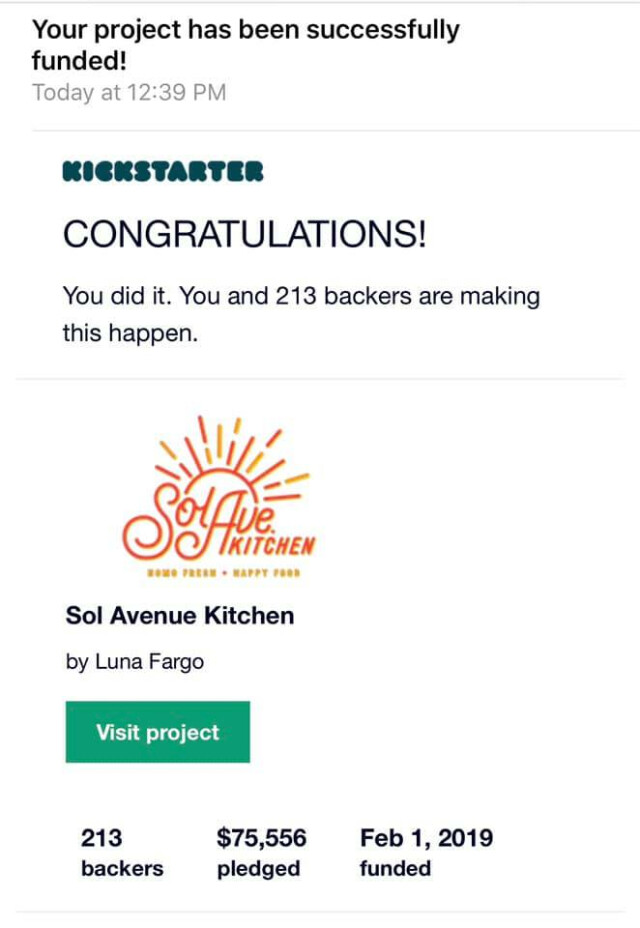 The Sol Ave. Kitchen Kickstarter Exceeds its $75,000 goal on Feb. 1, 2019
