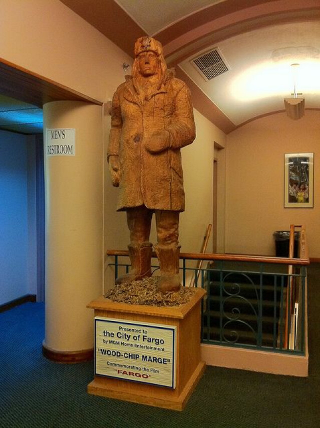 A woodchip statue of Marge from the film Fargo