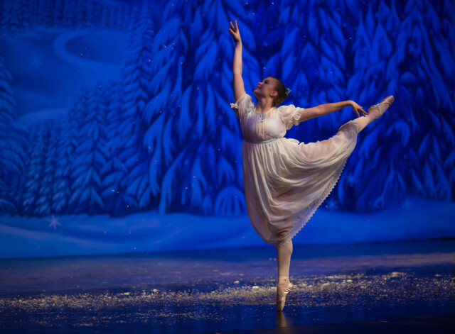 Fargo ballet dancer in the role of Clara during a performance of The Nutcracker